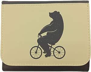 محفظة جلد بتصميم دب يقود دراجة، مقاس 12cm X 10cm