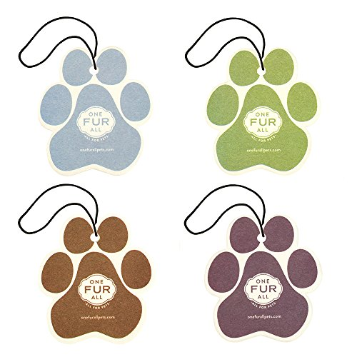 One Fur All Pet House Car Air Freshener, Pack of 4 Non-Toxic Auto Air Freshener, Pet Odor Eliminating Air Freshener Car, Ideal Small Spaces, Dye Free Dog Car Air (Fur Freshener)