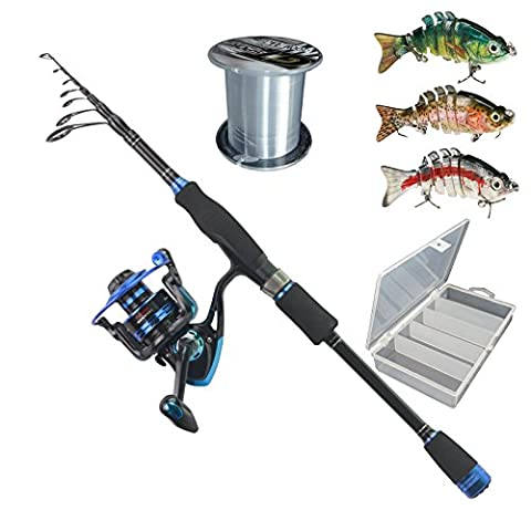 Himenlens B30 Beginner Leisure Spinning Fishing Rod and Reel Combos Telescopic Fishing Rod with Reel Combo Saltwater Freshwater Kit(6.9')