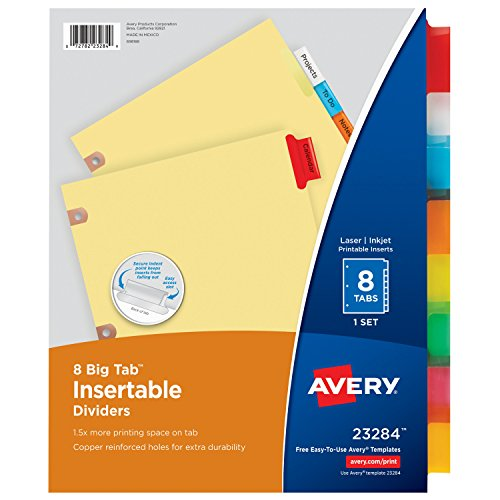 Avery Big Tab Insertable Dividers, Buff Paper, 8 Multicolor Tabs, 1 Set (Big Tab Multi Color Insertable)