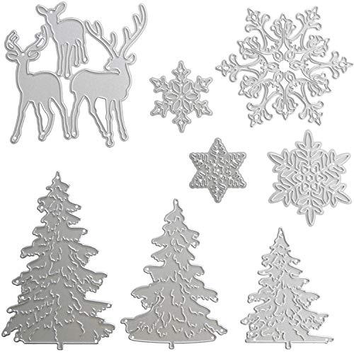 Pangda 8 Pieces Christmas Metallic Cutting Dies Embossing Dies Stencil, Include Snowflake, Christmas Tree and Reindeer Metal Mould for DIY Crafts