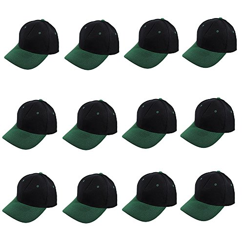 Plain Blank Baseball Caps Adjustable Back Strap Wholesale LOT 12 Pack- 001-Black Green]()