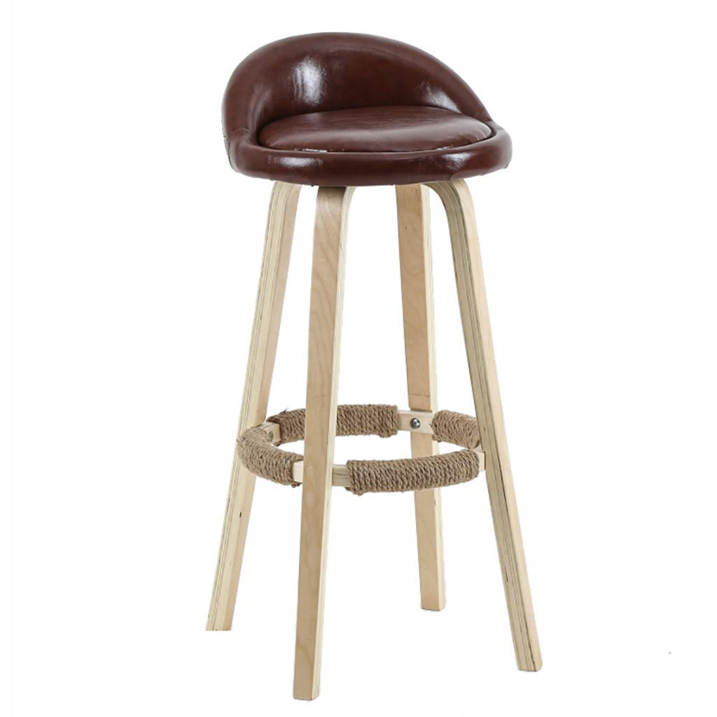 Brown leather 50cm Solid Wood Bar Stool, Simple Backrest High Stool, High Rebound Sponge Filling + Fabric Leather Cushion, for Kitchen   Breakfast   Counter   Conservatory   Café   Pub