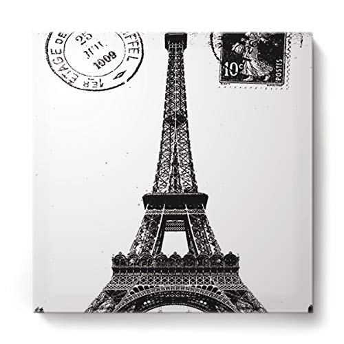 Square Canvas Wall Art Oil Painting for Bedroom Living Room Home Decor,Vintage The Stamp of Paris Eiffel Tower Black and White Office Artworks,Stretched by Wooden Frame,Ready to Hang,12 x 12 Inch ()