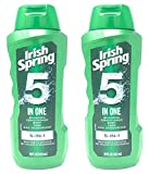 Irish Spring 5-in-1 Shampoo, Conditioner, Body Wash, Face Wash and Deodorizer, 18 oz (Pack of 2)