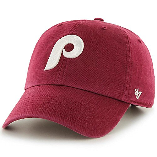 ('47 Brand Philadelphia Phillies Clean Up MLB Dad Hat Cap Maroon/White)