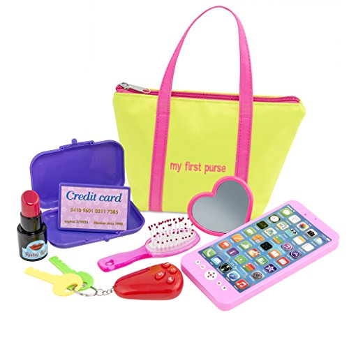 My First Purse for Girls or Boys :: Includes Play Phone and Keys With Sound Effects Plus Mirror, Hairbrush, Wallet, Credit Card, & Pretend Lipstick in Zippered Tote :: Makes a Great Kid's Gift (Play Purse)