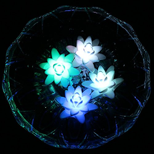 ARDUX LED Floating Candle Light, Waterproof Lily-Shape Flower Color Changing Tealight Night Light Flameless Candle with Battery-Powered (Pack of ()