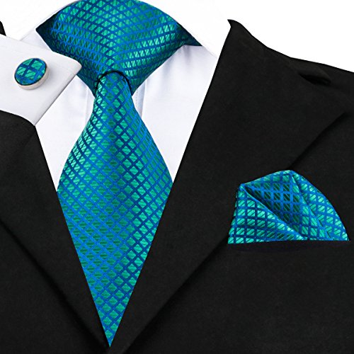 - Hi-Tie Men Classic Green Blue Tie Necktie with Cufflinks and Pocket Square Tie Set