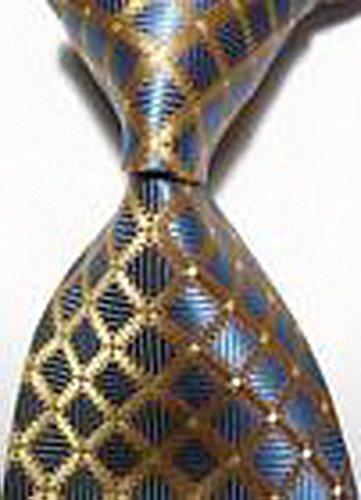 Dream Pole New luxury Checks Gold Blue JACQUARD WOVEN 100% Silk Men's Tie Necktie cdc0112 (Scottish Girl Halloween Costume)