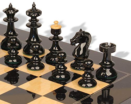 Vienna Coffee House Antique Reproduction Chess Set High Gloss Black & Boxwood Pieces with Black & Ash Burl Chess Board - 4