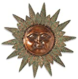 Premium LARGE 30'' Beautiful Garden Sun Face Outdoor Patio Wall Hanging with Copper Face (30'' Metal Face with Rustic and Copper Finish Rays)