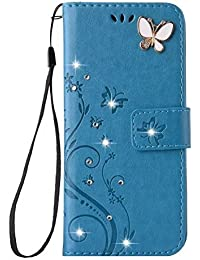 iPhone 8 Plus Luxury Handmade Bling Rhinestone Soft Slim Flip Stand Wallet Case for iPhone 8 Plus Flower Butterfly PU Leather Case for Girls Women (iphone 8 plus, Blue)