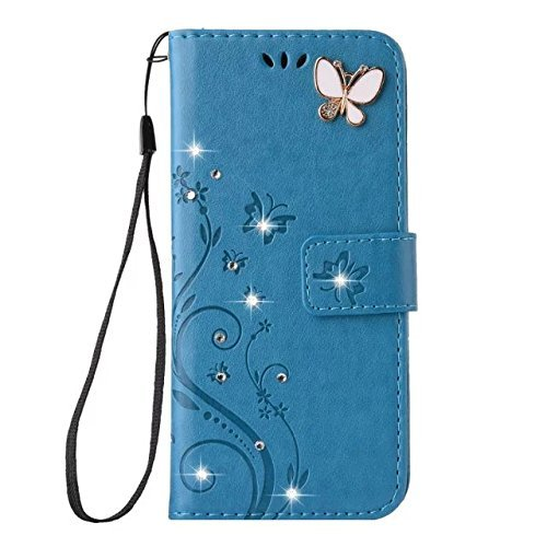 Auroralove Note 8 Luxury Handmade Bling Rhinestone Soft Slim Flip Stand Wallet Case for Samsung Note 8 Flower Butterfly PU Leather Case for Girls Women (Samsung galaxy Note 8, Blue)