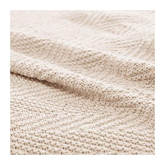 """Longhui bedding Fringe Knit Cotton Throw Blanket, 50 x 63 Inches Decorative Knitted Cover with 6 Inches Tassels, Bonus Laundry Bag - 3.12lb Weight, Couch Blankets, Cream - ELEGANT KNITTED BLANKET: Beautiful knitting is what gives our throw blanket fancy touches of detailed sophistication. The woven pattern brings a decorative element to any sofa, couch, bed, recliner or sitting bench. BIG ENOUGH FOR SNUGGLING: Measuring 50""""x63"""", the knit blanket is large enough to cover two people. Spend the night in watching Netflix beside your significant other blanketed by the warmth of this knitted throw! HEAVY WEIGHT 100% COTTON: Weighing in at 3.12 pounds, our signature knitted throw blanket is weighted to deliver unparalleled comfort. It's soft & cozy but also heavy enough to keep the chill out on cold winter days. - blankets-throws, bedroom-sheets-comforters, bedroom - 51qSA3kiZzL. SS570  -"""