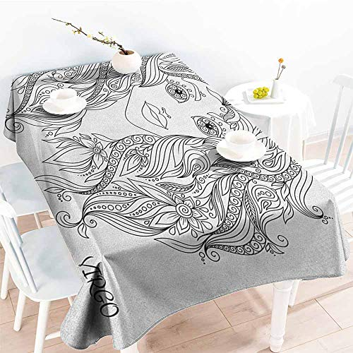 EwaskyOnline Resistant Table Cover,Zodiac Virgo Young Lady Portrait with Flowers Hand Drawn Line Art Woman of Virgo Sign,Table Cover for Dining,W60X90L, Black and White]()