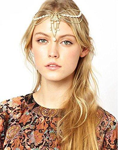 Head Chain Gold Indian Style Hair Pendent Fashion chain tassel headdress super hoop shiny hair band