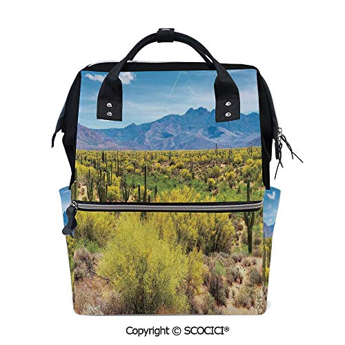 SCOCICI Travel Backpack Large Diaper Bag,Photo Image Landscape of Desert Field of Cactus Stones Spikes Leaves Artwork,with Wide Style Top Opening