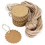 Cdet 100pcs Gift Tag Flower Message Card Tag Hang Tag for Crafts Cookies Children Gift 6cm *6cm+2m Rop