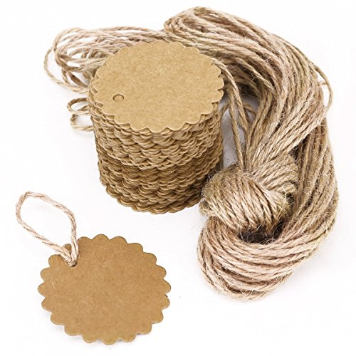100PCS Qingsun Kraft Paper Gift Tags Brown DIY Handmade Bonbonniere Favor Scalloped Wedding Gift Hang Round Tags with Free 6.6 Feet Natural Jute Twine