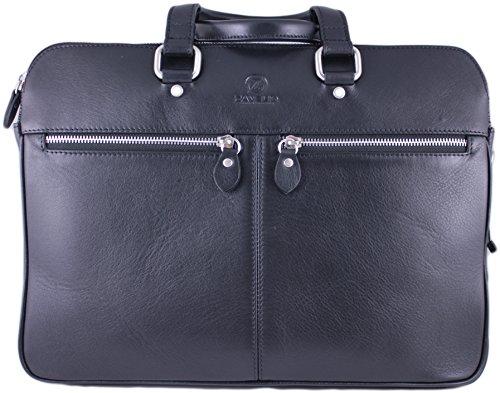 Zavelio Men's David Genuine Leather Business Briefcase Messenger Shoulder Bag Black by Zavelio