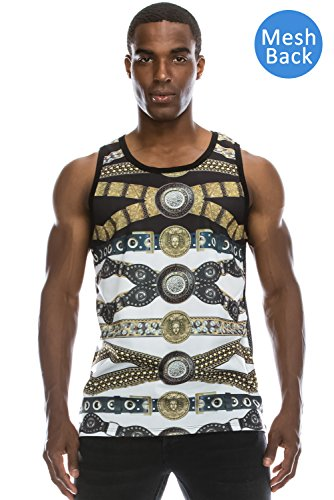 JC DISTRO Mens Hipster Hip Hop Graphics Medusa Collection Mesh Tank-Top Large Leopard Mesh Cami