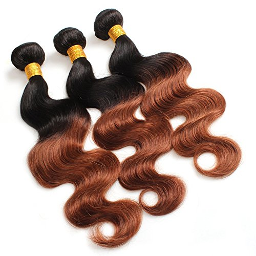 Virgin Remy 100% Unprocessed Brazilian Human Hair 1 Bundle Unprocessed Body Wave Hair Weft Hair Extensions Ombre 3 Tone Colored Fusion Weft with Closure Lace Front Brown 6A Body Wave (Cheap Coloured Wigs)