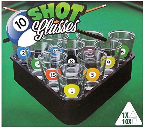 Vetrineinrete® Gioco biliardo alcolico shottino per feste party 10 bicchieri da shot idea regalo divertente giochi di società festa compleanno C63