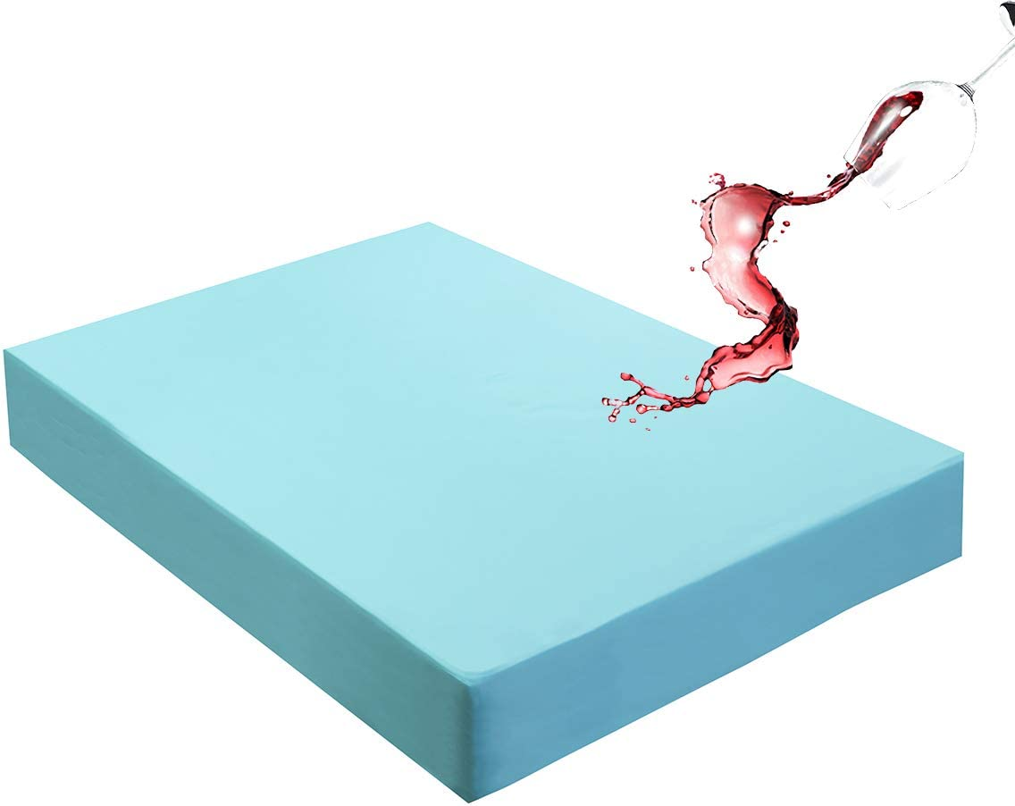 """Mecerock Lake Blue Queen Size Waterproof Mattress Pad Protector Cover Fitted to 18"""" Deep Hypoallergenic Vinyl Free"""