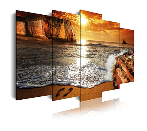 DekoArte 268 - Cuadros Modernos Impresion de Imagen Artistica Digitalizada | Lienzo Decorativo para Tu Salon o Dormitorio | Estilo Paisaje Puesta de Sol en Playa | 5 Piezas 200 x 100 cm XXL