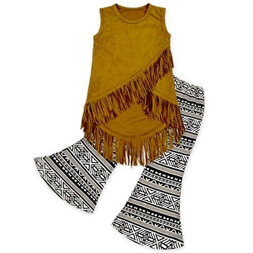 Rush Dance Girls Toddler Buckskin Tassel Vest & Vintage Bell Bottom Pants Set (L (3-4T), Sleeveless Top & Pants) - Vintage Bell Bottom Pants