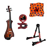Meisel Electric Violin Pack Sunburst w/Red Stand, Tuner & Star Rosin