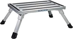 GOGOOD Aluminum Folding Platform Steps RV Step Stool with Anti-Slip Surface & Rubber Feet for Motorhome, Trailer, SUV, also for Kitchen & Office, 440LB Capacity