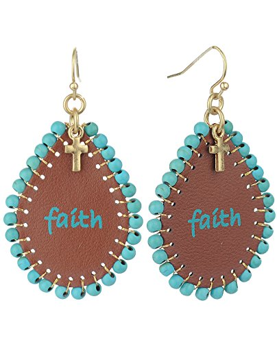Women's Faux Leather Beaded Edge Faith Imprinted Teardrop Dangle Pierced Earrings, Turquoise/Gold-Tone (Imprinted Leather)
