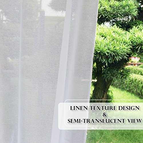 RYB HOME Linen Look Semi Sheer Curtains for Outdoor Patio/Yard, Tab Loop Top Privacy Sheer Curtains, Light Filter Volie for Porch, with 2 Free Ropes, Width 54 x Length 96 Inch, Set of 2 by RYB HOME (Image #6)