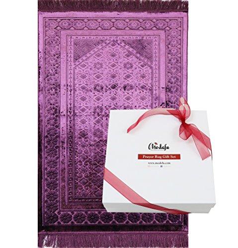 Modefa Velvet Islamic Prayer Rug with Prayer Beads Ramadan Eid Luxury Gift Box Set (Purple) by Modefa