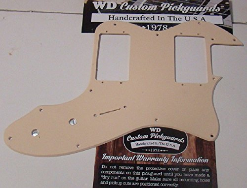 (Telecaster Thinline Replacement Pickguard for Two Fender Wide Range Humbuckers - Solid Cream)