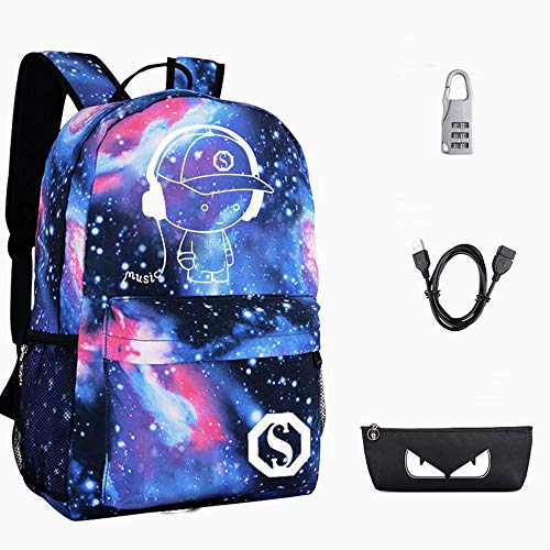 (Anime Luminous Backpack Bag, Cool Teens Backpack with USB Charging Port and Lock &Pencil Case Fashion Galaxy Daypack Bookbags Shoulder Travel Daypack Laptop Backpack)