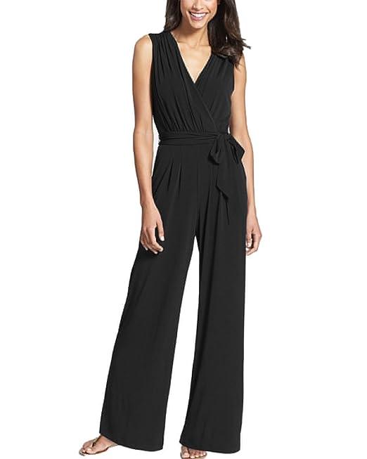 39 opinioni per Auxo Jumpsuits V Collo Elegante Senza Maniche Pans Long Pantaloni a Vita Alta