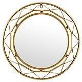 "Rivet Modern Metal Lattice-Work Round Mirror, 18"" H, Gold Finish"