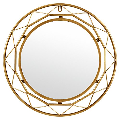 Rivet Modern Metal Lattice-Work Round Hanging Wall Mirror, 18 Inch Height, Gold Finish (Mirror Bamboo Sunburst)