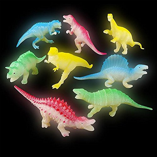 Kidsco 5.5 Inches Glow in The Dark Light Dinosaurs - 1 Dozen Assorted Jurassic Toy Figure Collection - Light-Up Playset Kit for Kids Room, Home Decor, Party Favors