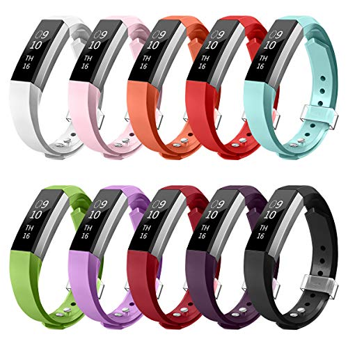 AIUNIT Compatible Fitbit Alta HR and Alta Band Large, Accessory Replacement Wristband Strap W/Secure Metal Clasp for Fitbit Alta and Alta HR/Ace Fitness Tracker Women Men Boys Girls(10 Pack Smooth