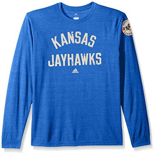 Adidas Kansas Shorts Jayhawks (adidas NCAA Kansas Jayhawks Adult Men Arched Heritage Tri-Blend L/S Tee, Large, Collegiate Royal Heathered)