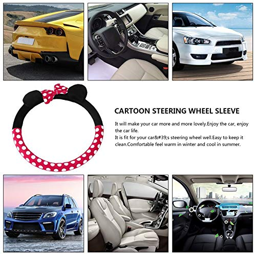 rojo Cloverclover Accesorios de coche universal nuevo lindo dibujos animados cubierta del volante 16 estilos