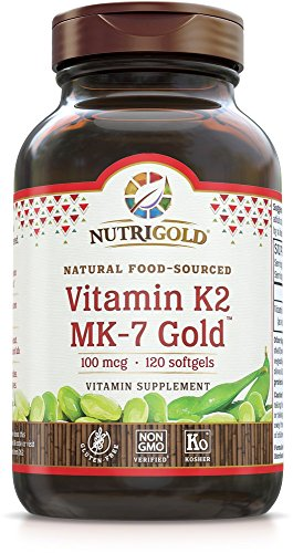 NutriGold Vitamin K2 (Food-Sourced as MK-7) Gold - Bone and Heart Support - 100 mcg (120 softgels)