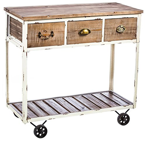 8HTW025 Cape Craftsmen Rustic Pine White Wash Wooden Hall Table with Wheels Evergreen Enterprises Inc