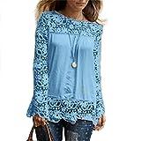 #9: PHOTNO Fashion lace chiffon blouse long sleeve shirt women loose cotton tops t shirts S-XXXXXL