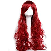 Anime Cosplay Costume Wig Big Wave Curly Hair with Oblique Fringe Wavy Wigs Multicolor for Women Men Kids Loose Layered Fiber Adjustable Cap Sexy Burgundy (32'' Wine Red)