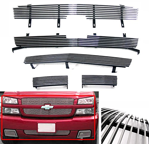 (ZMAUTOPARTS Chevy Silverado 15 SS Front Upper+Bumper Billet Grille Grill Combo)